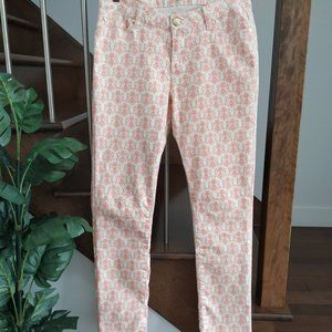 Maison Coupe pink lys flower print white jeans